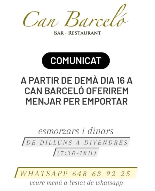 El restaurant Can Barceló seguim oberts